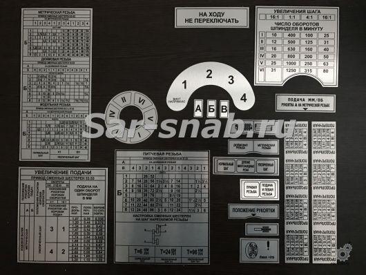 Полный комплект табличек (шильдики) на станок токарный 1М63, 163, ДИП 300