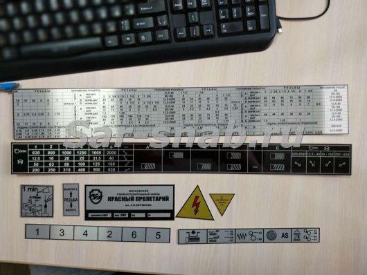 Комплект табличек (шильдов) на станок 1К62, 1К625, ТС-30. Таблички на станки и оборудование.