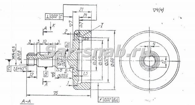Полумуфта 3Б71М.25.35 чертеж