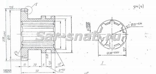 Колесо зубчатое 3Б71М.25.32 чертеж