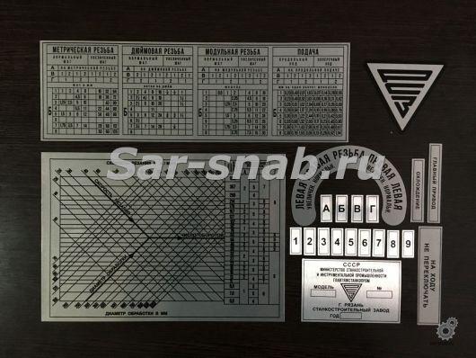 Комплект табличек (шильдиков) для станка 1М65, ДИП 500
